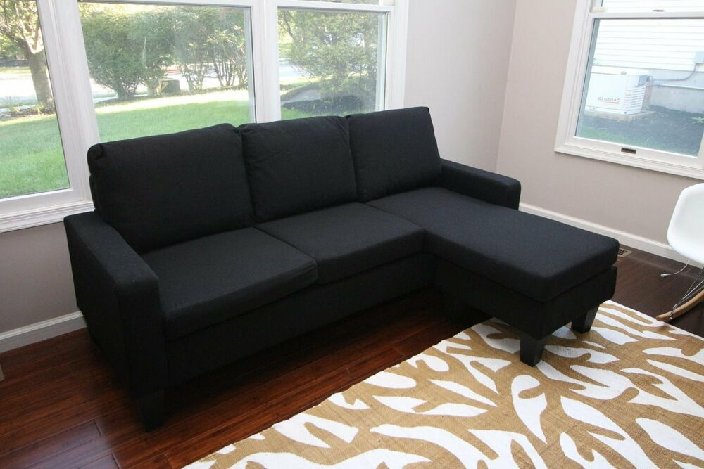 Black Fabric Sectional Sofa W/ REVERSIBLE Chaise Lounge
