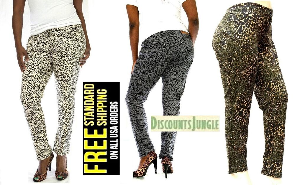 16fbf6a735f LP WOMENS PLUS SIZE Leopard CHEETAH PRINT STRETCH TWILL DENIM JEANS SKINNY  PANTS