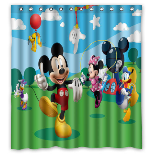 """Mickey Mouse Club House Custom Polyester Waterproof Shower Curtain 66"""" X 72"""" New"""