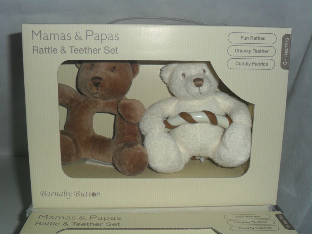 mamas papas baby barnaby bear button rattle teether set bnib new in box ebay. Black Bedroom Furniture Sets. Home Design Ideas