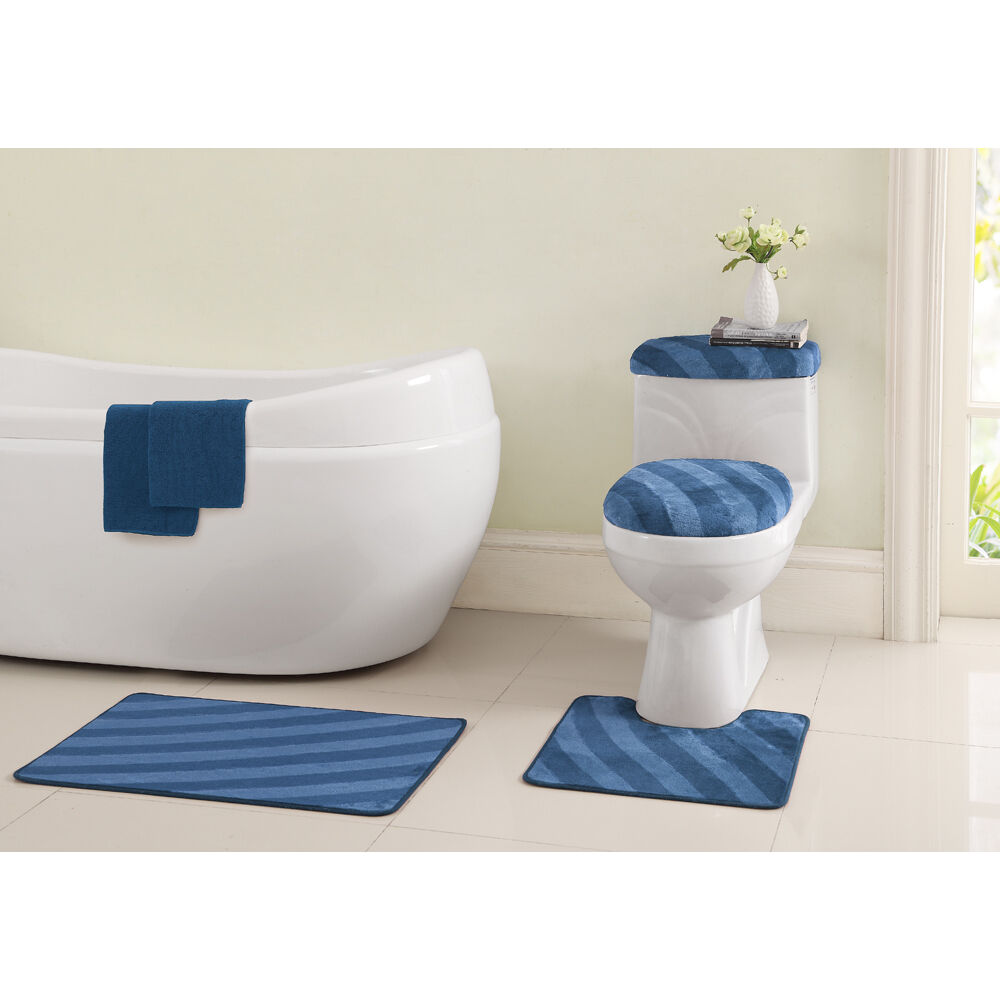 Vcny addie 6 piece bath mats and toilet cover set with for Bathroom pieces