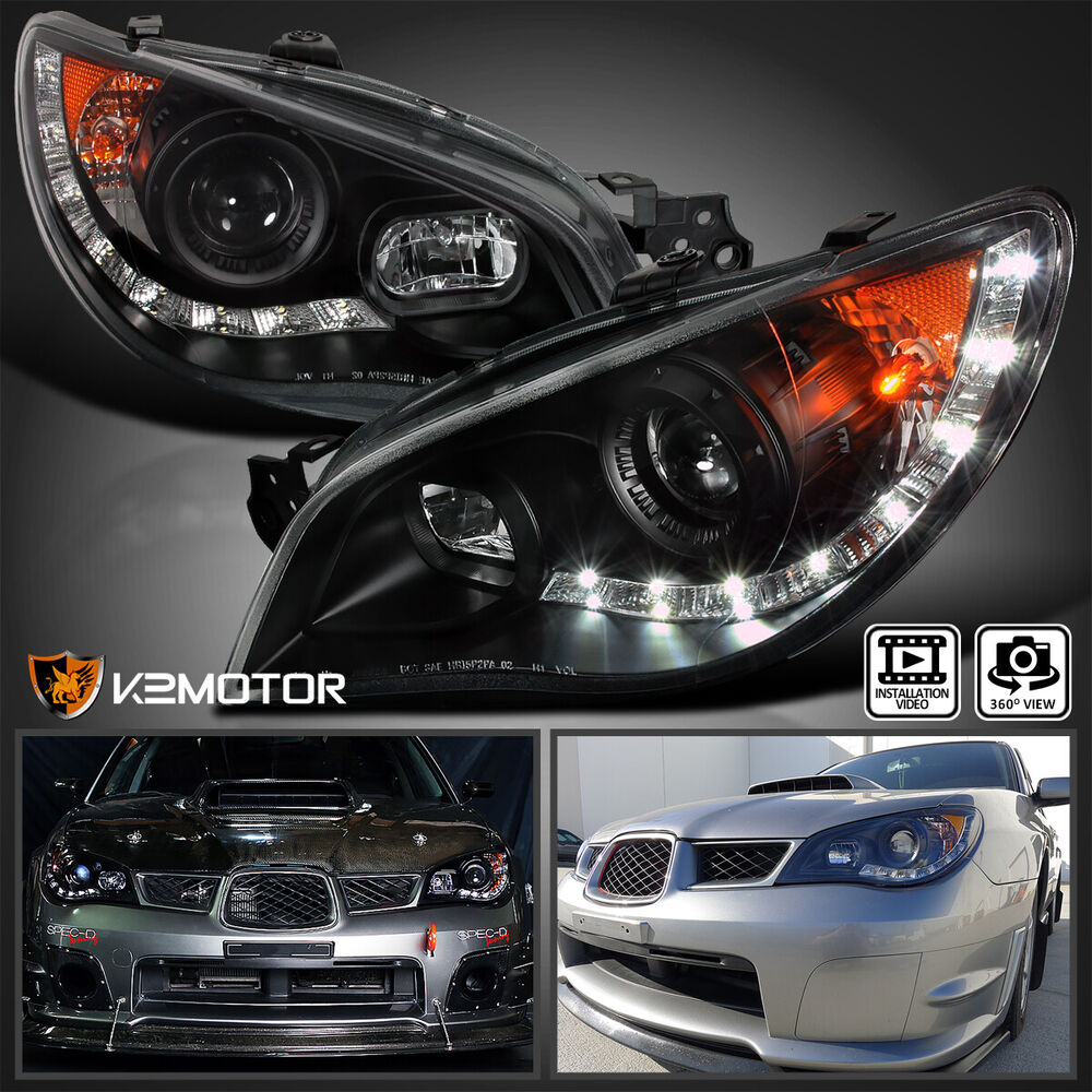 For 2006 2007 Subaru Impreza Wrx Jdm Black Headlights R8