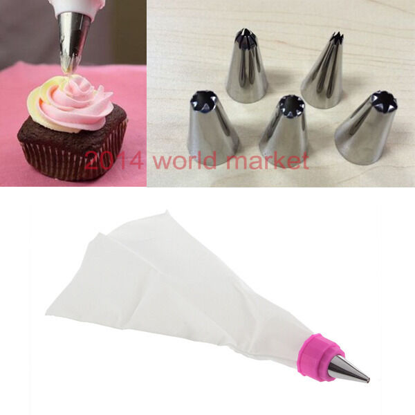 Cake Decorating Bag How To : Icing Piping Nozzles Tips Pastry Bag Cake Cupcake ...
