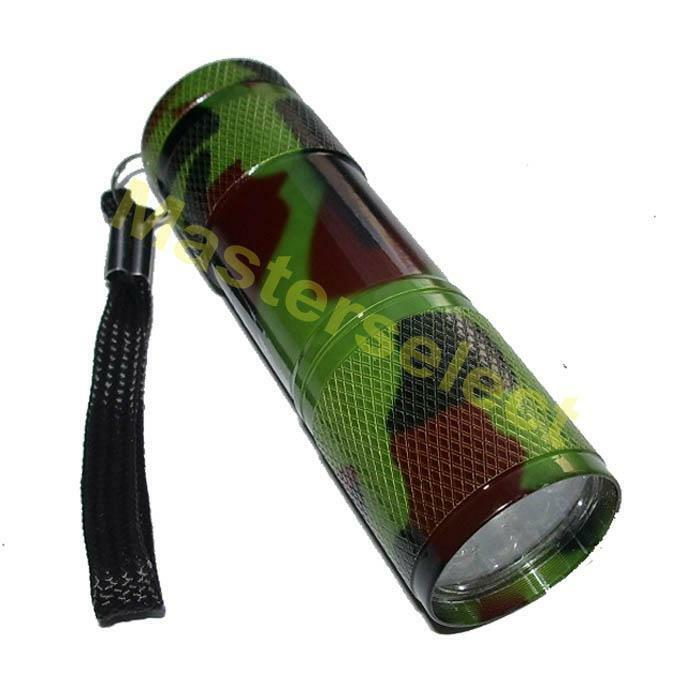lampe torche de poche puissante 9 leds couleur camouflage a main pas cher ebay. Black Bedroom Furniture Sets. Home Design Ideas