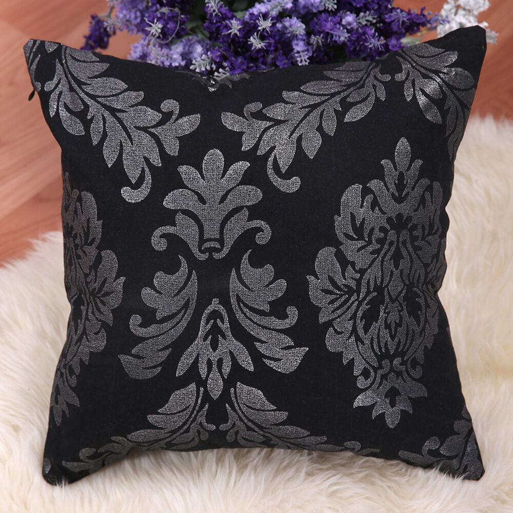 15x15 home decor throw pillow case sofa seat cushion cover black floral new ebay. Black Bedroom Furniture Sets. Home Design Ideas