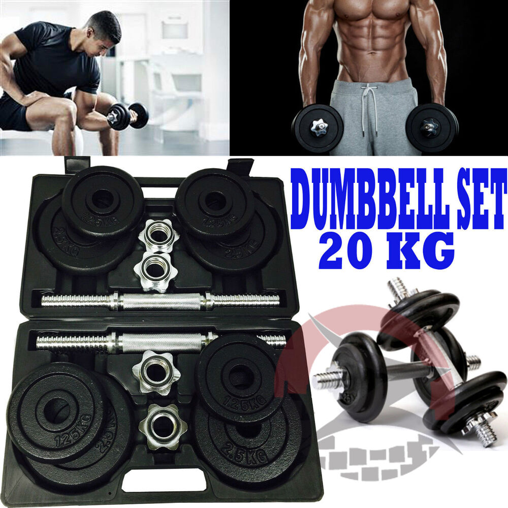 Voit Dumbbell Set 20kg: DUMBBELL GYM CAST IRON FREE WEIGHTS BICEPS GYM HOME