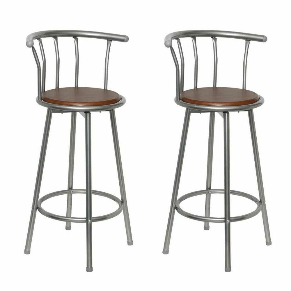 New Set 2 Bar Stools Breakfast Kitchen Bar Stool Barstools Wooden Seat Ebay