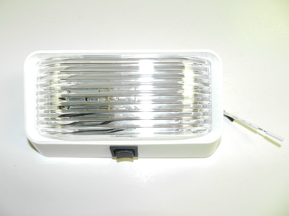 12 Volt Rv Porch Light Rectangle Clear Lens Camper Rv Trailer White With Switch Ebay