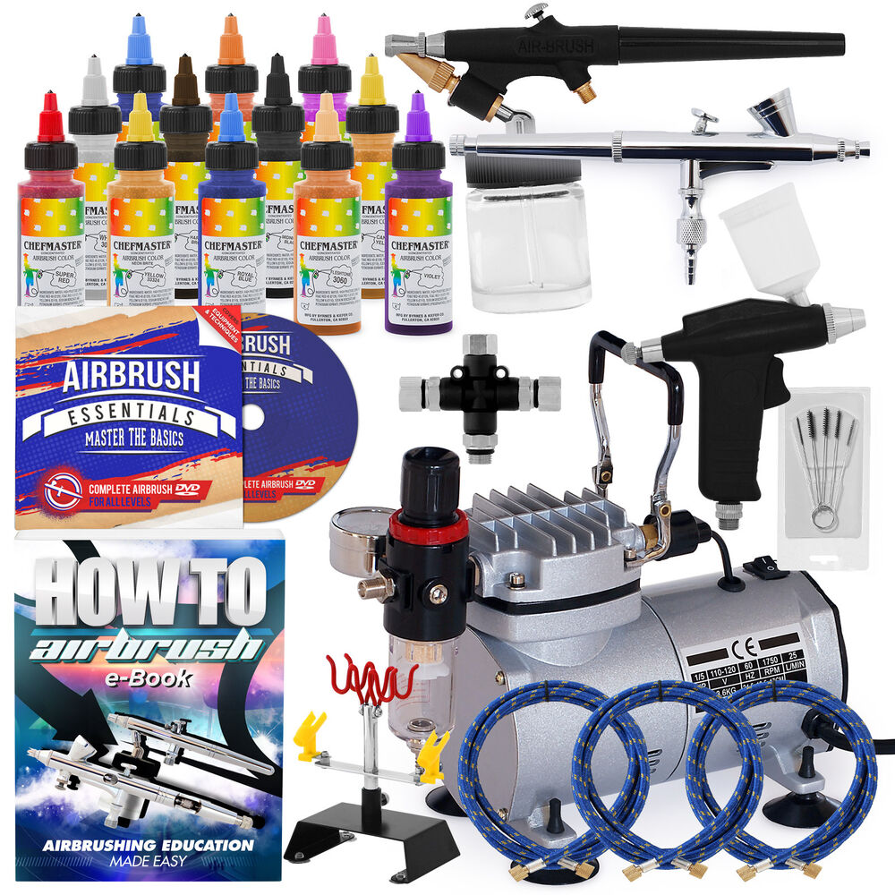 Complete Master Airbrush Cake Decorating Airbrush System : Complete Cake Decorating Airbrush Kit - 12 Color Set eBay