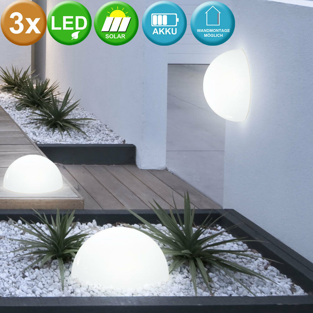led 3er set solarleuchten halb kugel solar lampe garten terrasse au en leuchte ebay. Black Bedroom Furniture Sets. Home Design Ideas