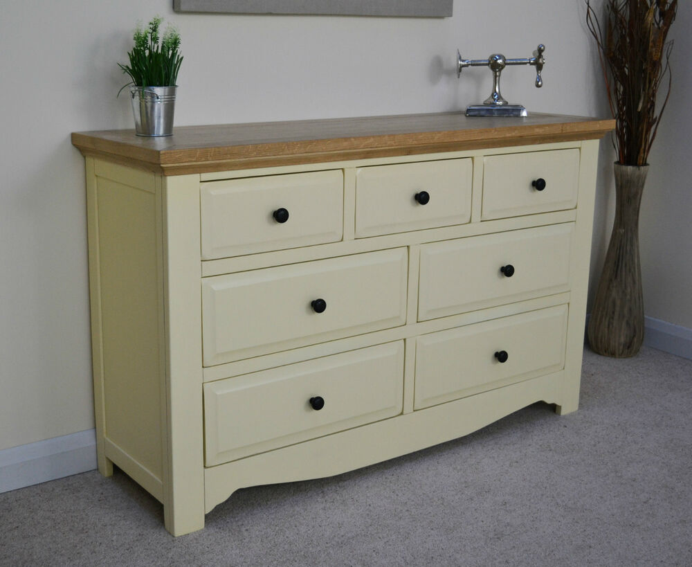 Cream painted wood oak drawer multi chest of drawers