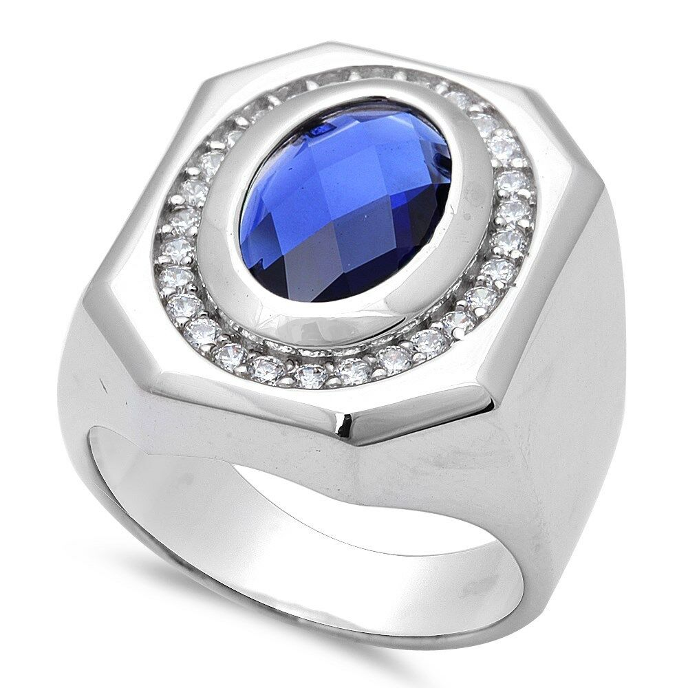 s blue sapphire 925 sterling silver ring sizes 7 11