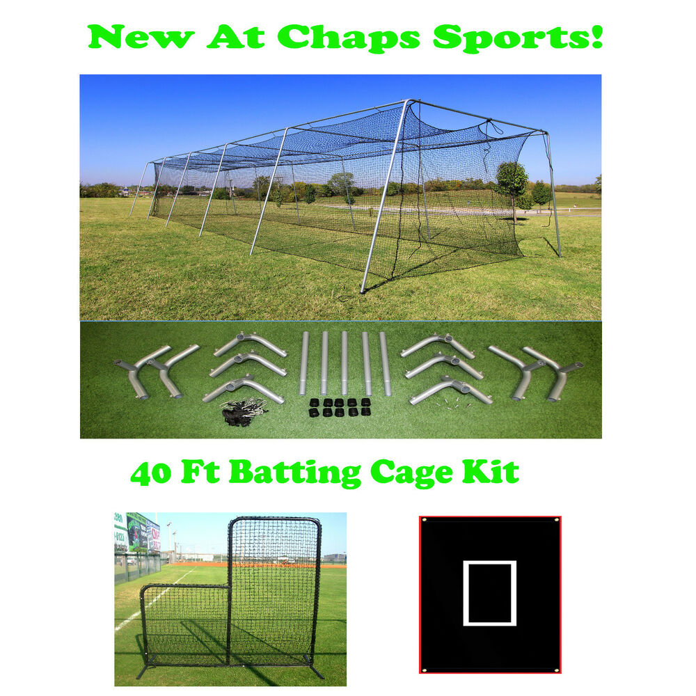Portable Batting Cages Backyard: 40 Ft Portable Backyard Batting Cage Kit For A Pitching