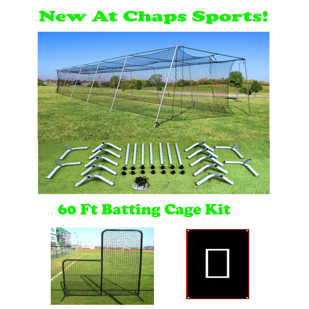 Portable Batting Cages Backyard: 60 Ft Portable Backyard Batting Cage Kit For A Pitching