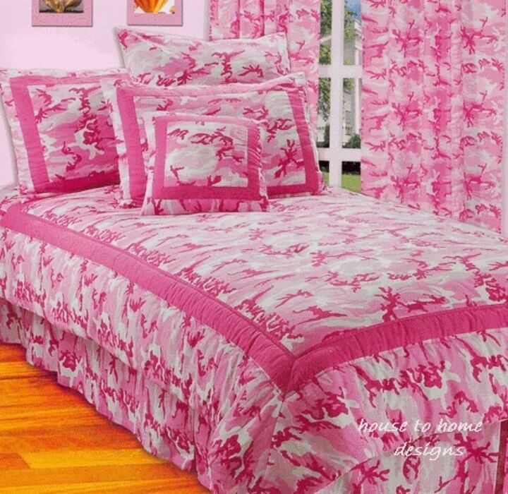 Hot Pink Camo 3pc Twin Comforter Set Teen Girls