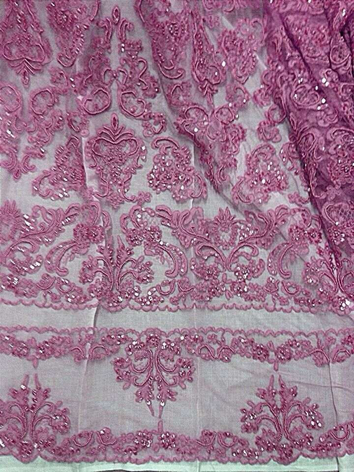 Dusty rose pink beaded sequins bridal lace corded fabric for Bridal fabric
