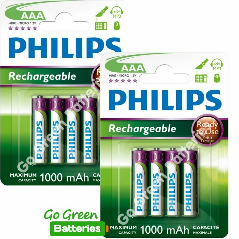 8 x philips aaa 1000 mah rechargeable batteries lr03 hr03 dect phone nimh ebay. Black Bedroom Furniture Sets. Home Design Ideas