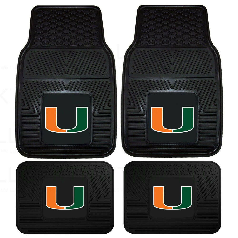 New Ncaa Miami Hurricanes Car Truck Front Back Rubber All