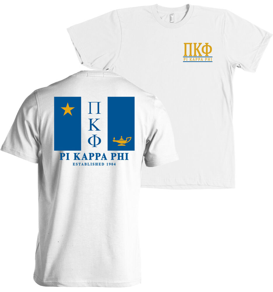 Pi kappa phi fraternity flag bella canvas t shirt new ebay for American apparel sorority shirts