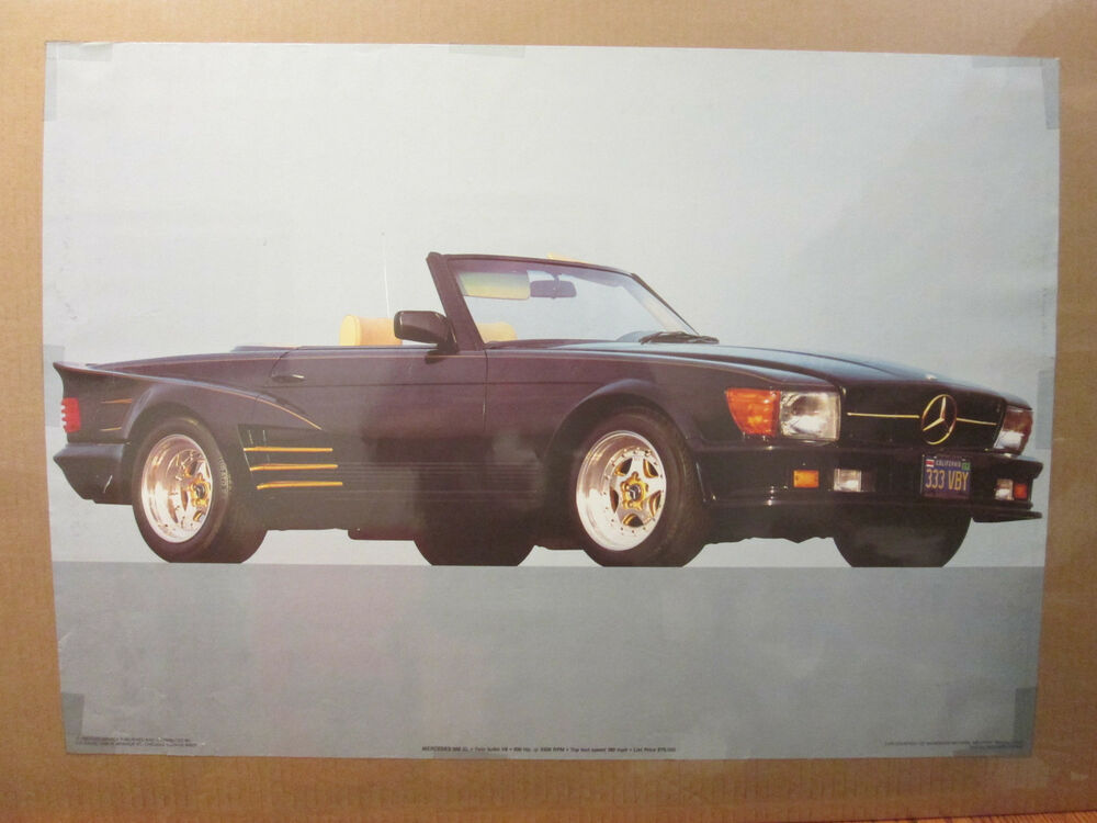 Man Cave Posters For Sale : Vintage mercedes sl original car poster hot rod