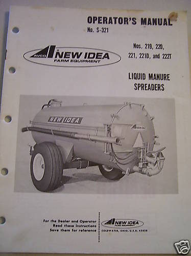 Original New Idea Operators Parts Manual Liq Manure