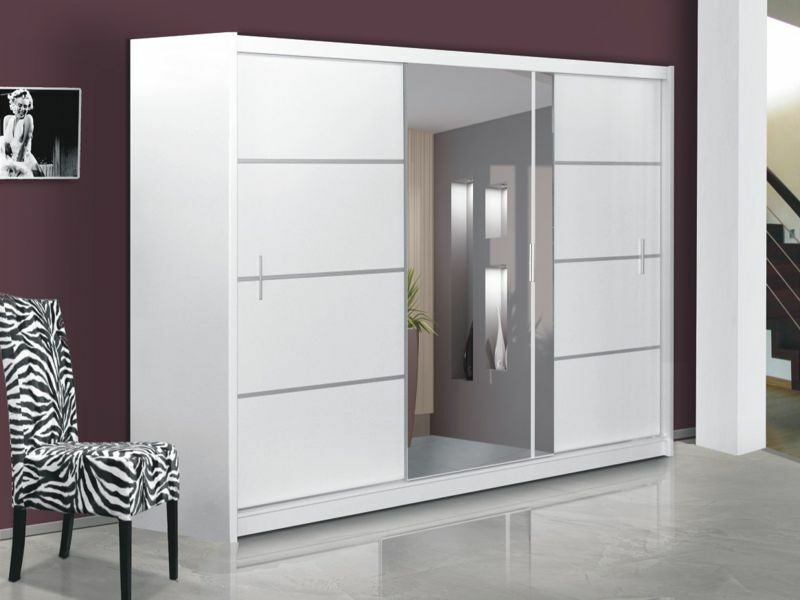 sliding door wardrobe with mirror vista white many sizes ebay