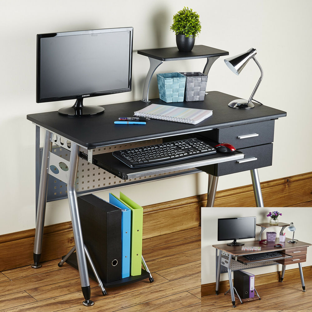 desk work station home office furniture black walnut grey ebay