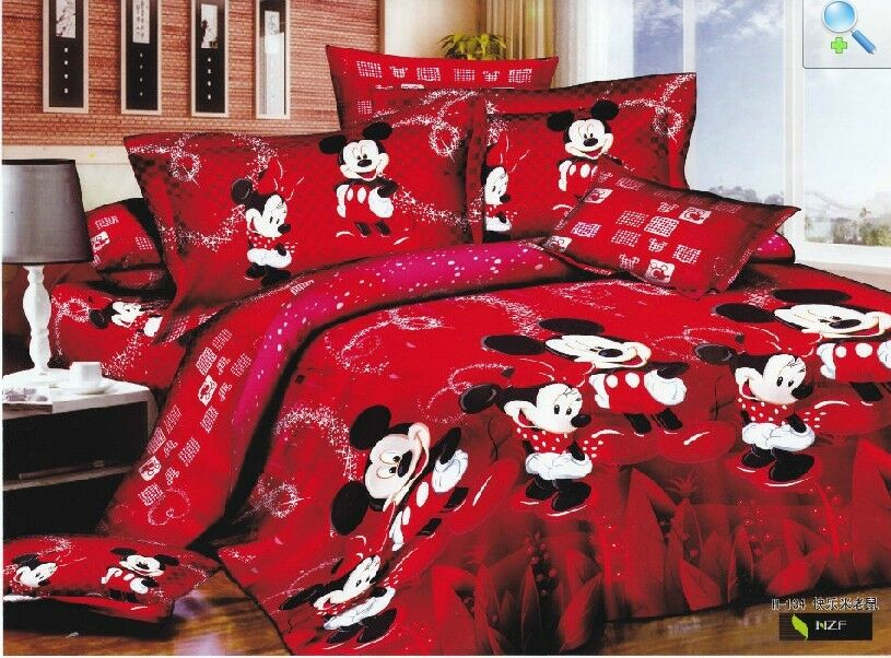 Red Mickey Mouse Minnie Cotton King Double Size Duvet