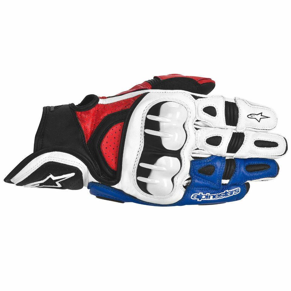 Alpine Motorcycle Gear >> Alpinestars GPX white blue red Leather Motorcycle Gloves Vented Water Resistant | eBay