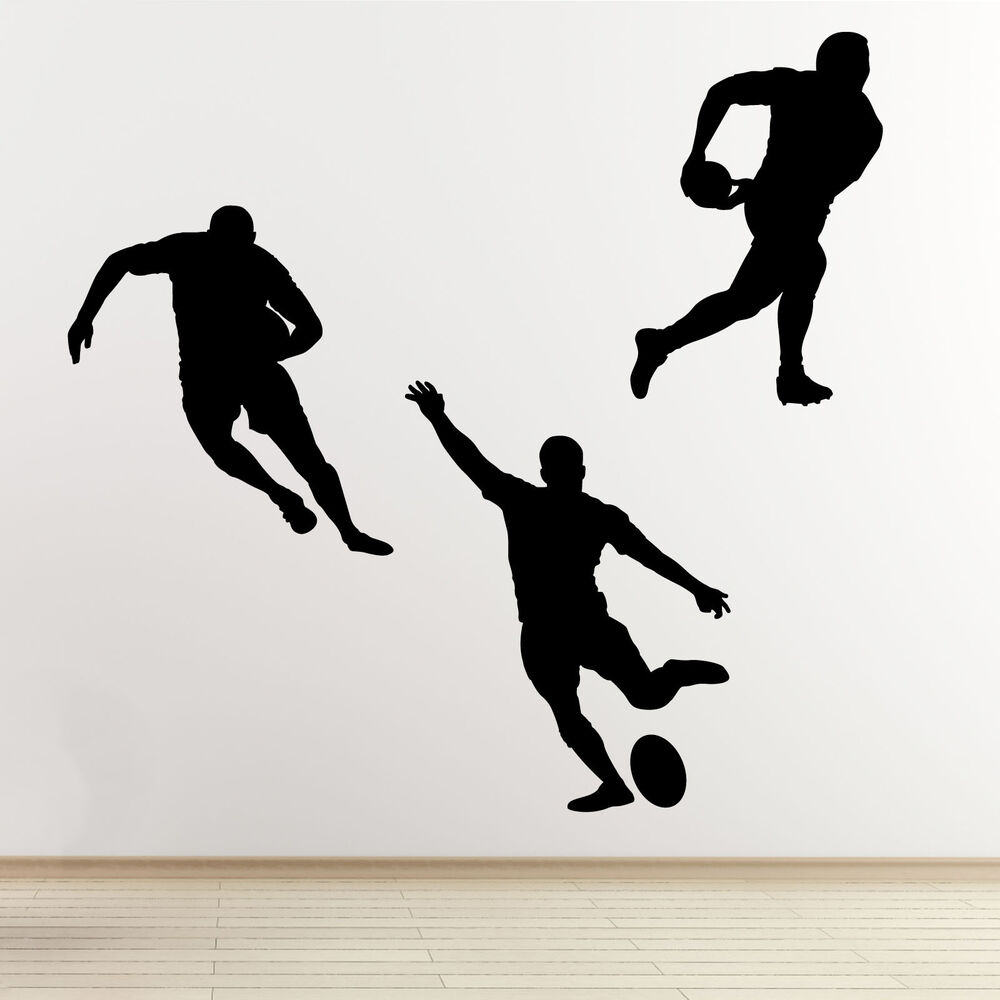 Rugby player wall stickers 3 pack sports silhouette wall for Decor outline