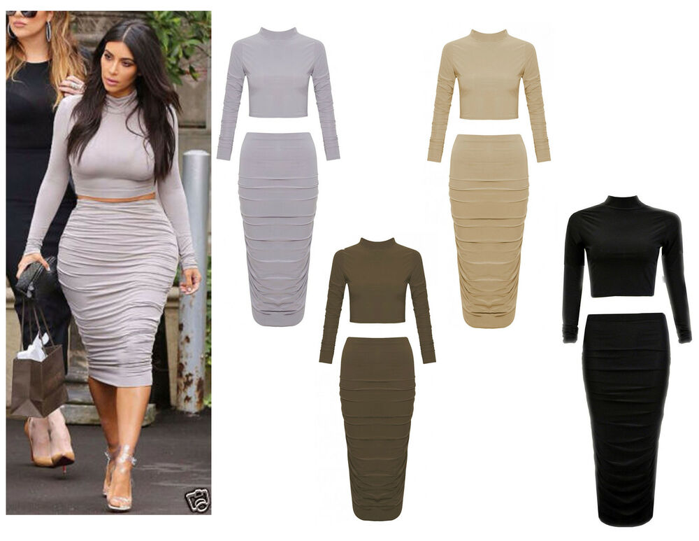 New Womens Ladies Ladies Celeb Kim Polo Crop Top Ruched Midi Skirt ...