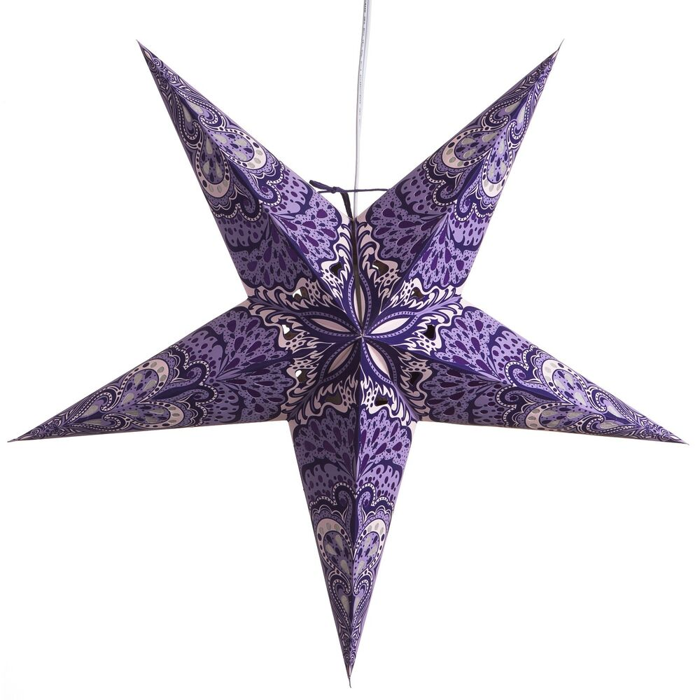 Purple charm paper star light lamp lantern with 12 foot for Paper star lamp