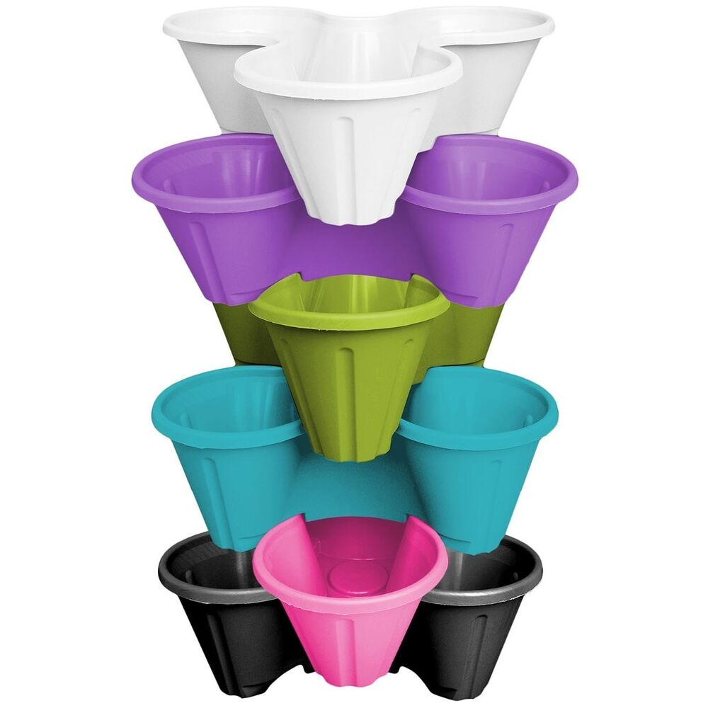 6 X Strawberry Planter Trio Pot Stacking Herb Flower Bed