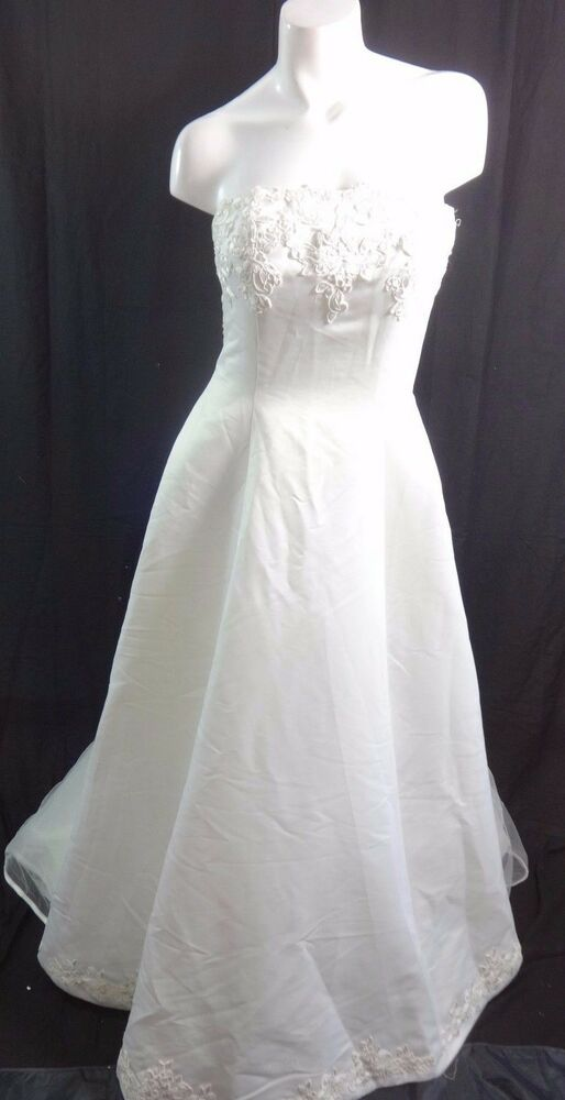 Alfred angelo ivory white satin lace wedding dress size for Ebay wedding dresses size 12