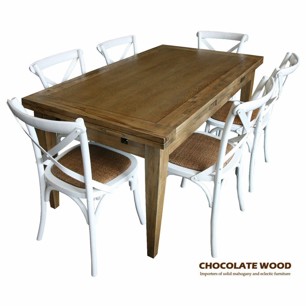 Iowa solid oak extension dining table 6 white cross back for White dining table and 6 chairs