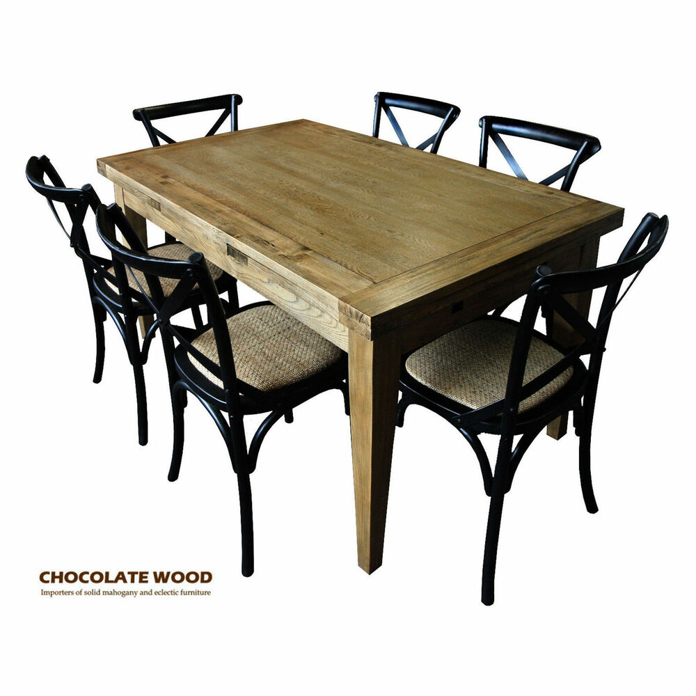 solid oak extension dining table 6 black cross back chairs ebay