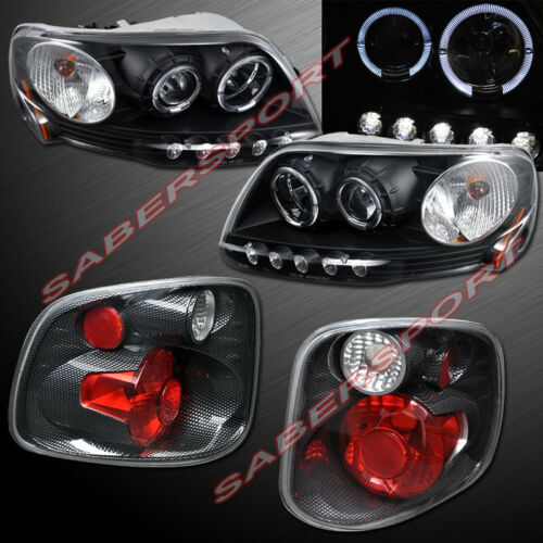 black-halo-projector-headlights-cf-taillights-for-0103-f150-w-flareside-bed