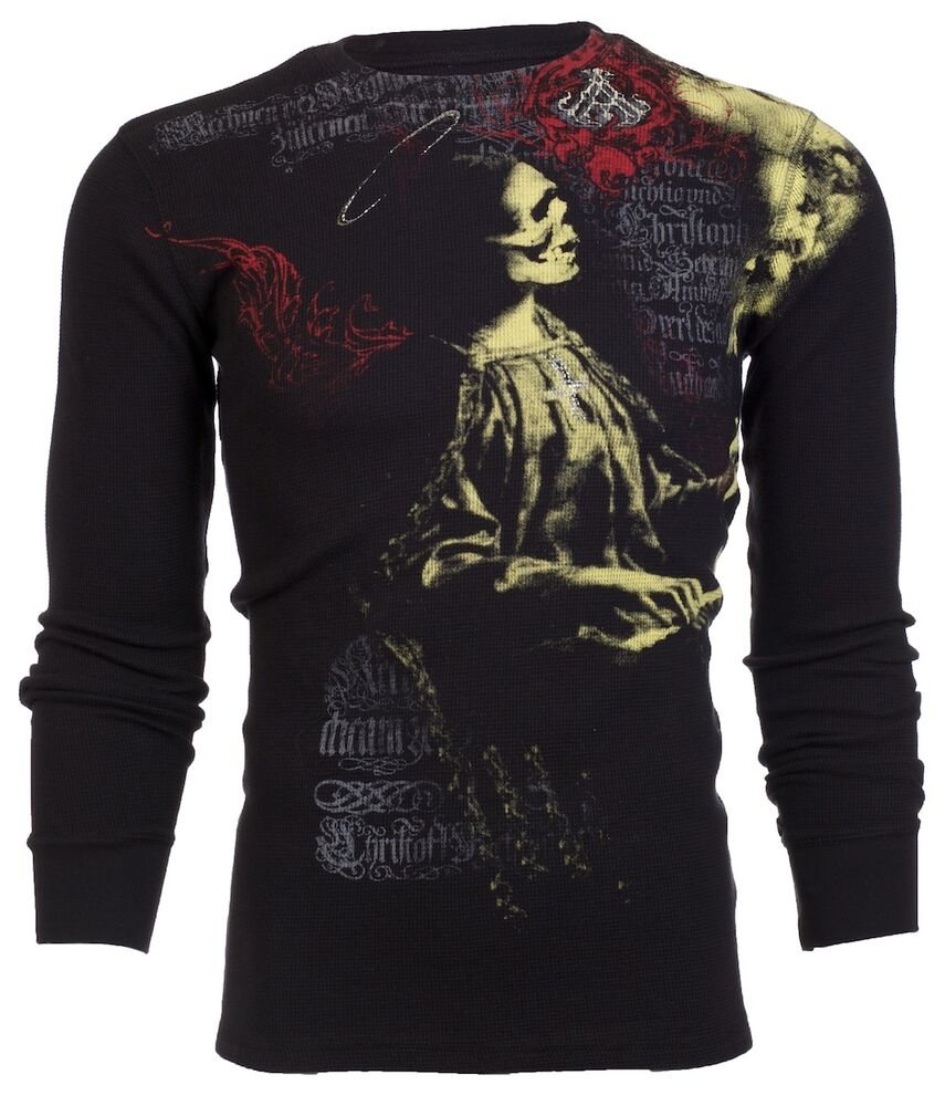 archaic affliction mens thermal tshirt lullaby skull