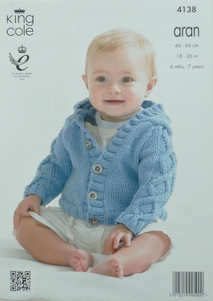 KNITTING PATTERN Baby Hooded Jacket with Cable Sleeves Aran King Cole 4138 ...
