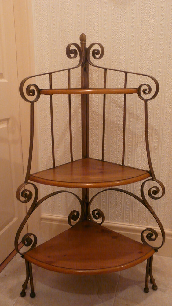 Gilt Metal 3 Tier Corner Shelving Unit Plant Stand With