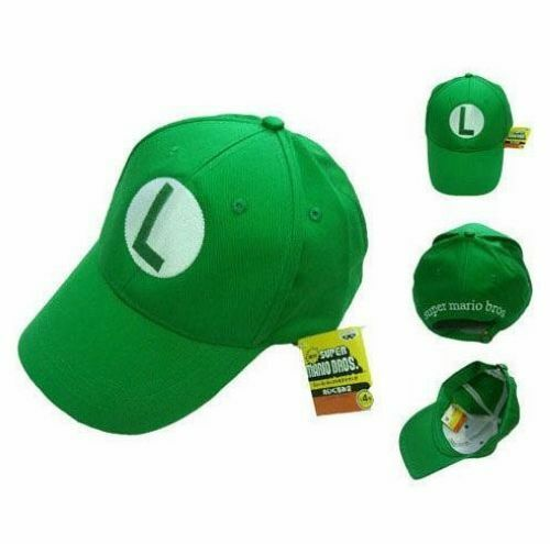 2pcs New Super Mario Bros Costume Hat Anime Cosplay Green
