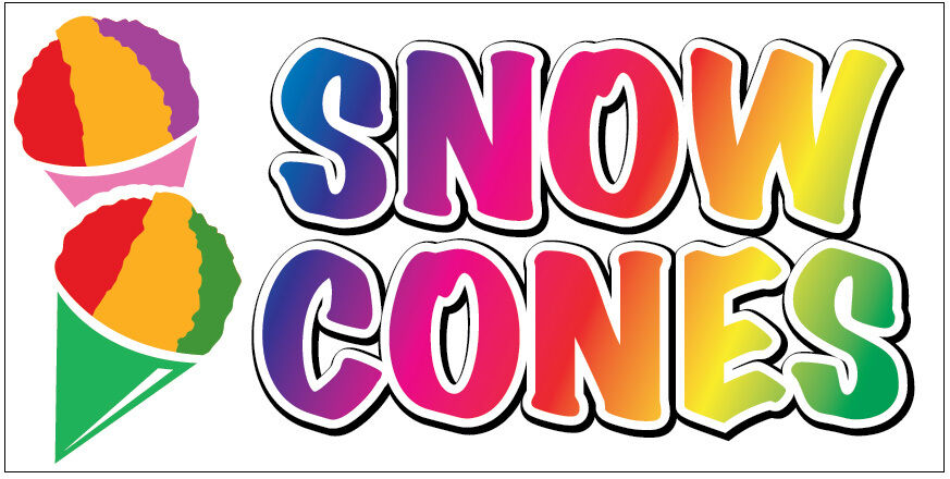 snow cones vinyl banner 2x4 ft concession sign new wb ebay. Black Bedroom Furniture Sets. Home Design Ideas