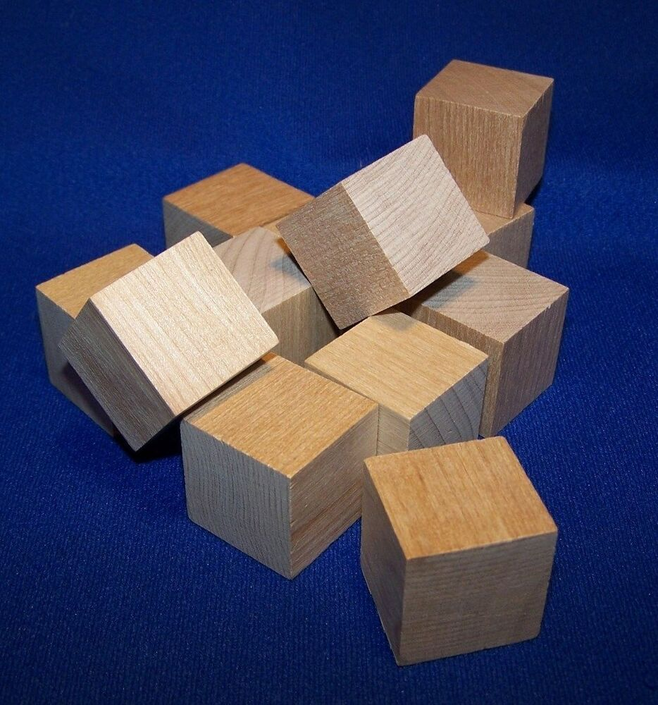 24 natural unfinished hardwood 1 wood blocks square cubes