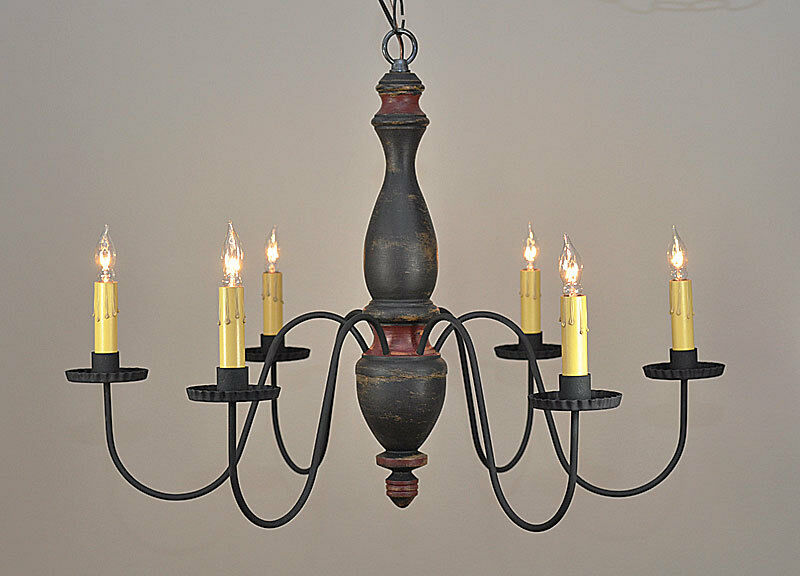 Stockbridge 6 arm wooden chandelier light in black for Country lighting fixtures for home