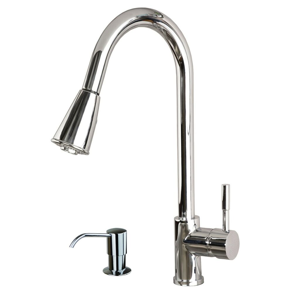 Contemporary 16 Pull Down Spray Kitchen Sink Faucet With Soap Dispenser Chrome Ebay