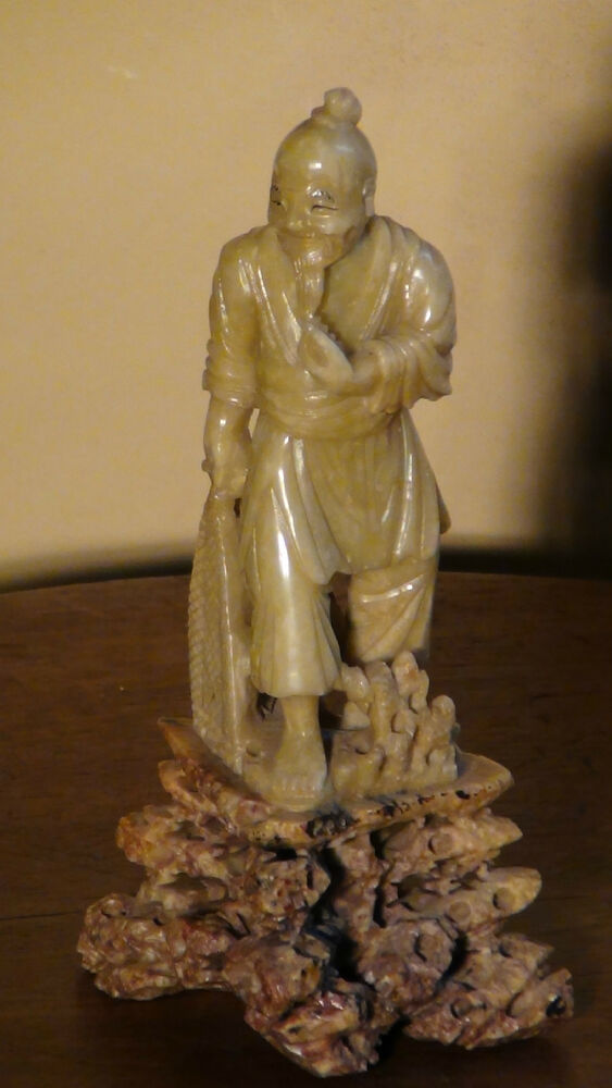 Antique chinese light green jade hand carved statue of