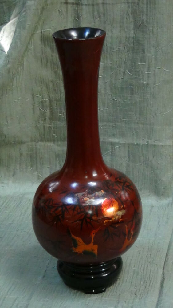 Antique China Long Neck Hand Carved Wood Lacquered Vase Hand Painted Quot Crains Ebay