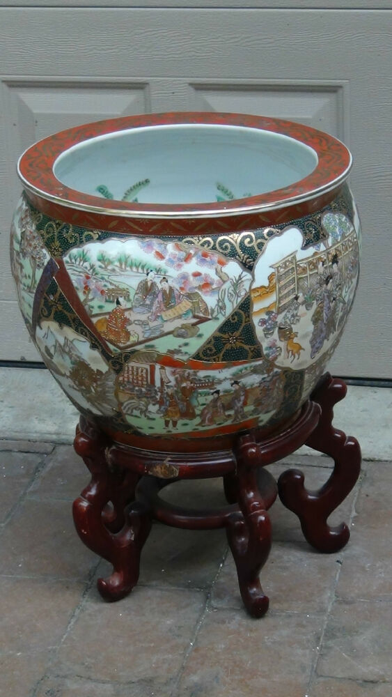 Antique 19c huge chinese fishbowl planter with rosewood for Chinese fish bowl planter