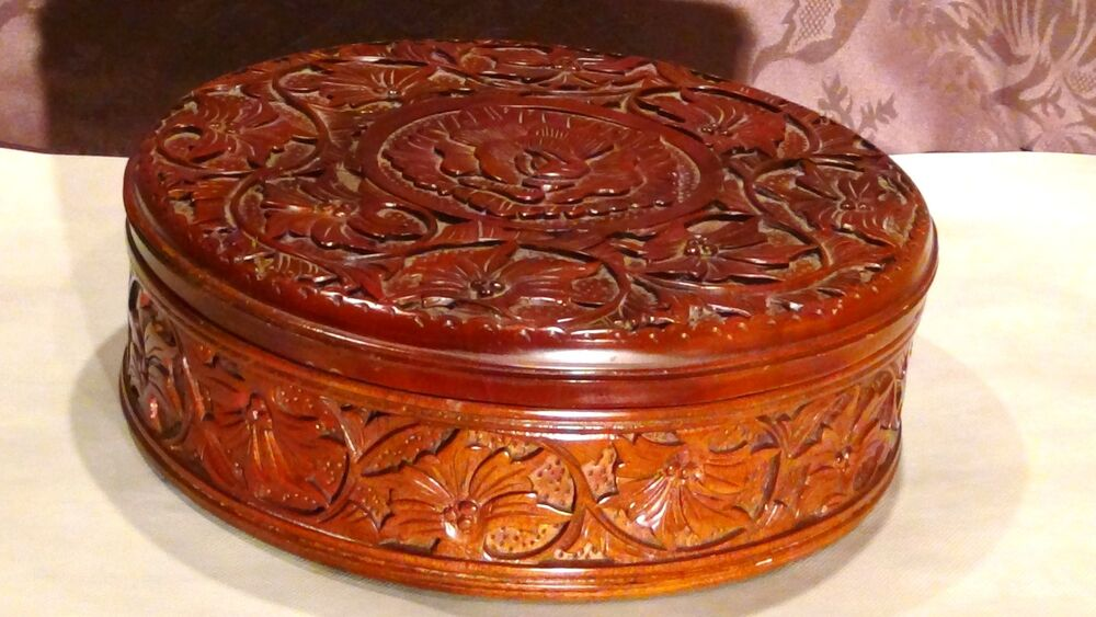 Antique c chinese mahogany ood hand carved storage box