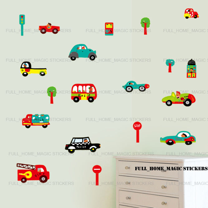 cars transport kids children wall stickers art decal boys transport stickarounds nursery wall stickers
